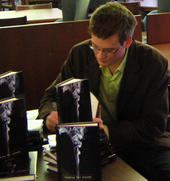 john green, author, signing copies of looking for alaska.  click for larger view.